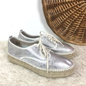 Loeffler Randall silver leather espadrille Alfie